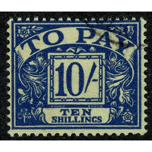 10/- blue on yellow. Watermark Crowns. SG D67Wi