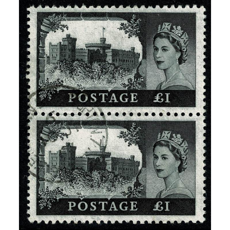 1963 £1 Black Bradbury,Wilkinson. SG 598a. Fine used vertical pair