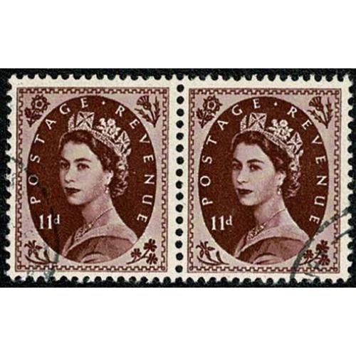1955 11d plum. Edwards Crown wmk. Very Fine Used pair. SG 553