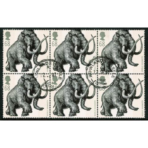 2006 Ice Age Animals 68p. Fine used block of six. SG 2618