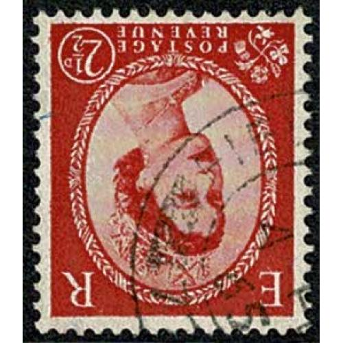 1959 2½d carmine (Type II). Graphite line multiple crowns INVERTED WATERMARK. SG 591Wi.