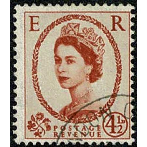 1959 2nd Graphite lines 4½d chestnut. Crowns Wmk. Very Fine Used single. SG 594