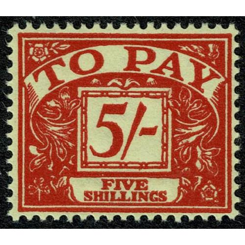 5/- scarlet on yellow. Watermark Crowns. UM single SG D66