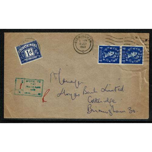 1963 More To Pay Printed Paper Rate. 1d violet blue postage due