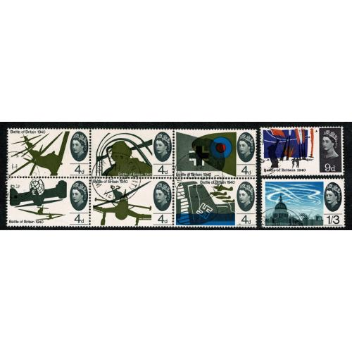 1965 Battle of Britain (ord). Set of 8 values VFU. SG 671-678
