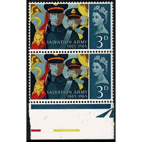 1965 Salvation Army 3d (phos). Listed variety retouch to V. SG Spec. WP61b