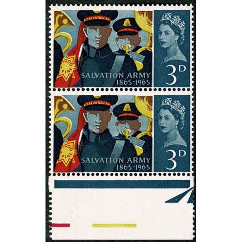 1965 Salvation Army 3d (ord). Listed variety retouch to V. with additional shift of blue. SG Spec. W61b