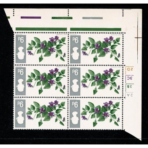 1967 Flowers 9d (ord). Cylinder block of six. INVERTED WMK. SG 721Wi.