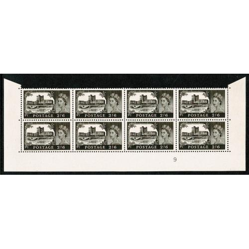 1968 2/6 Black-brown (chalky paper). Watermark Crowns.re-entry  SG 595k. Spec. T6b
