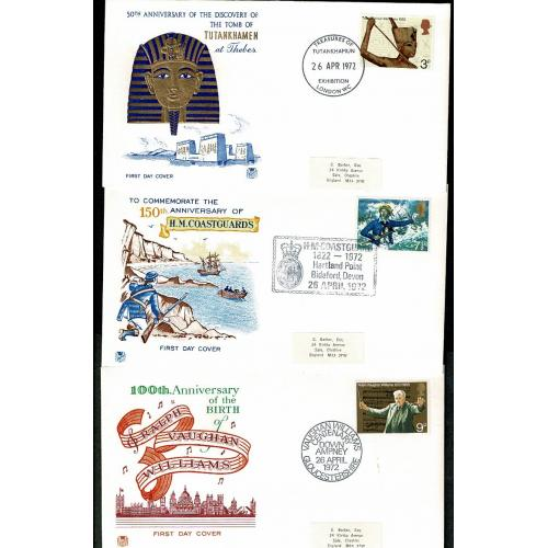 1972 Anniversaries. Set of 3 First Day Covers each with Special Handstamp