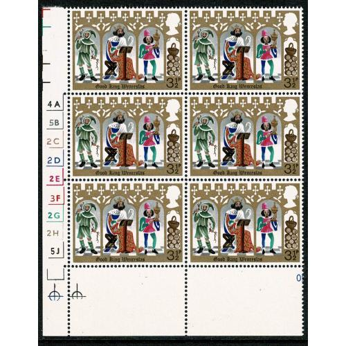 1973 Christmas 3½p (PVAD). MISSING ALL OVER  PHOSPHOR. Cyl. block of six. SG Spec. 948j