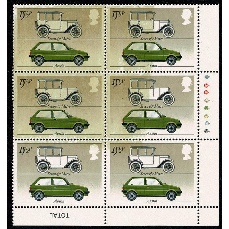 1982 Cars 15½p. SPECTACULAR LARGE INKING FLAW. Traffic Light block of six.