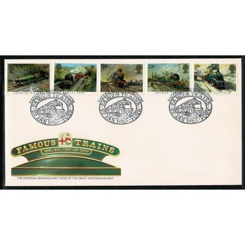 1985 Famous Trains FDC. National Railway Museum, Famous Trains York Special Handstamp