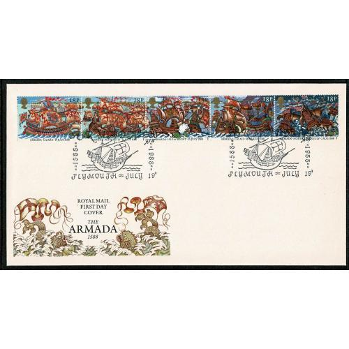 1988 Armada FDC. Armada 400 yrs 1588-1988, Plymouth  Special Handstamp