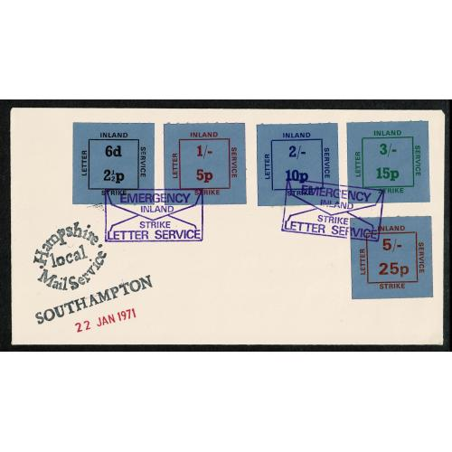 1971 Strike Mail. Cover with Inland Letter Service stamps,