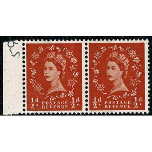 ½d orange. 6mm and 8mm band marginal pair. SG Spec. S12a & S12c.